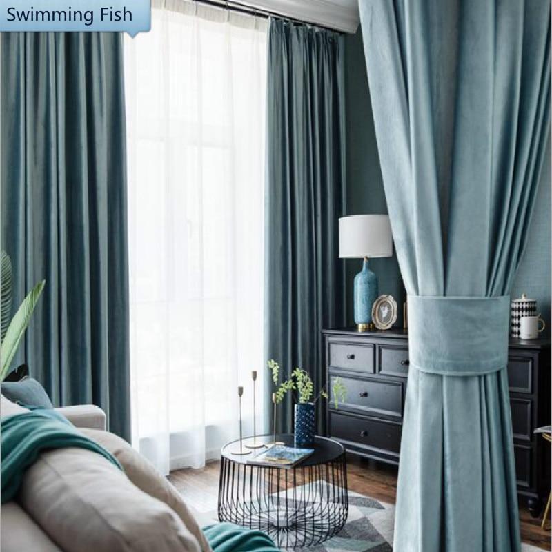 Cortina opaca de terciopelo sólido grueso de Holanda para dormitorio, sala de estar, cortina de ventana de franela, para casa, Hotel Deco, persiana hecha a medida