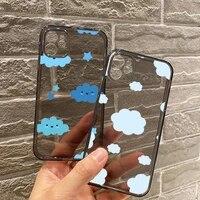 cartoon clouds phone case for iphone 12 11 8 7 se 2020 mini pro x xs xr max plus black transparent cover