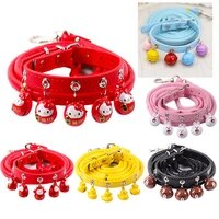 cute cat dog leash collar cartoon puppy bell pet accessories adjustable red dog harness for small dogs collar pet supplies