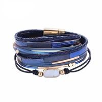 multi layer leather bracelet wild trend snakeskin baroque pearl double ring ladies bracelet multi layer wide bracelet 16inch