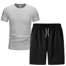 Summer 2021 short-sleeve shorts 2-piece set New hot sale solid color T-shirt Tracksuit T-Shirt sport
