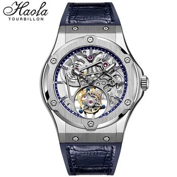 HAOFA Real Tourbillon Mechanical Movement Watches Mes 2021 Sapphire Hollow Skeleton Manual Flying Tourbillon Watch Men Luxury