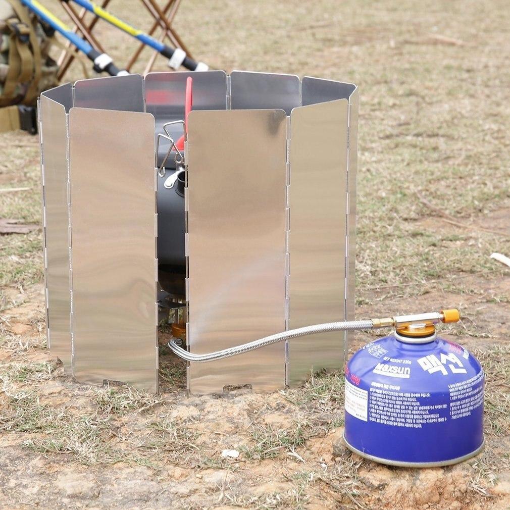 Cocina plegable de 10 placas, horno de Gas para barbacoa, pantalla protectora de viento, Picnic al aire libre, cocina de Picnic plegable, estufa de acampada, pantalla de viento