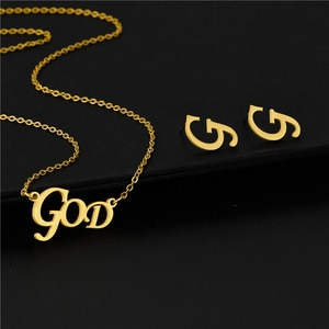 Small Stainless Steel God Capital Letter Alphabet Initial Word Pendant Chain Necklace Set Choker For Women Collier Femme Jewelry