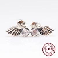 hot original 925 sterling silver angel wing earrings creative angel wing feather earring for women gift jewelry