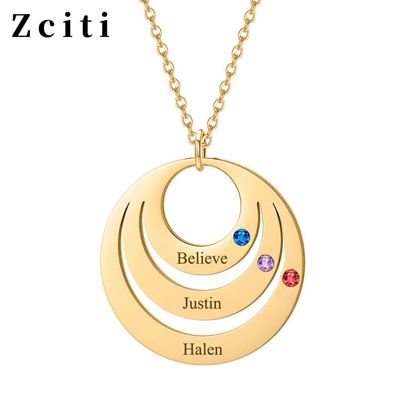 Фото - Custom Engraving Three Name Necklace For Women Copper Three Layer Round Pendant With Birthstone Necklace Personalized Jewelry three women