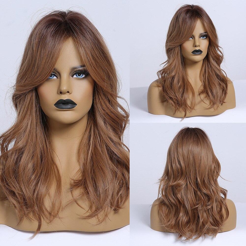 Pelucas sintéticas JONRENAU, color marrón miel, para uso diario, para mujeres negras, blancas, de longitud media, pelucas de pelo ondulado Natural, fibra resistente al calor