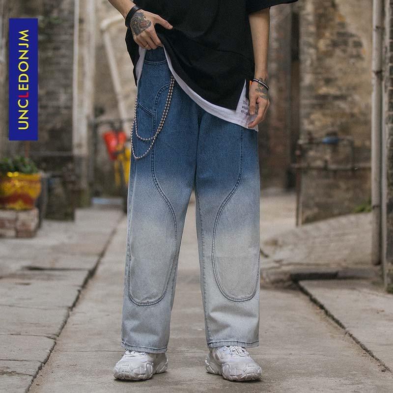 UNCLEDONJM High Street Tie Dyed Pants Mens Straight Zipper Trouser Hip Hop Streetwear Casual Jogger Vintage Mens Jeans AN-C047