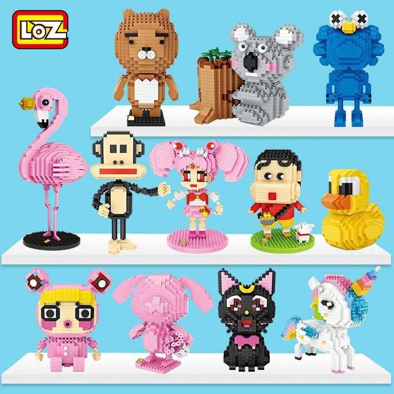 LOZ Mini blocs de diamant licorne Anime figurine dessin animé animal rose panthère flamant briques éducatives bricolage jouet pour les enfants