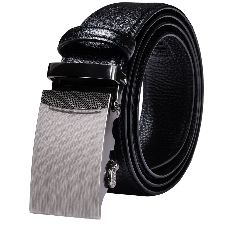 Black Blue Brown Red White Green Navy Tan Orange Leather Mens Belts Silver Automatic Ratchet Buckle Men Belt Waist Straps Gift