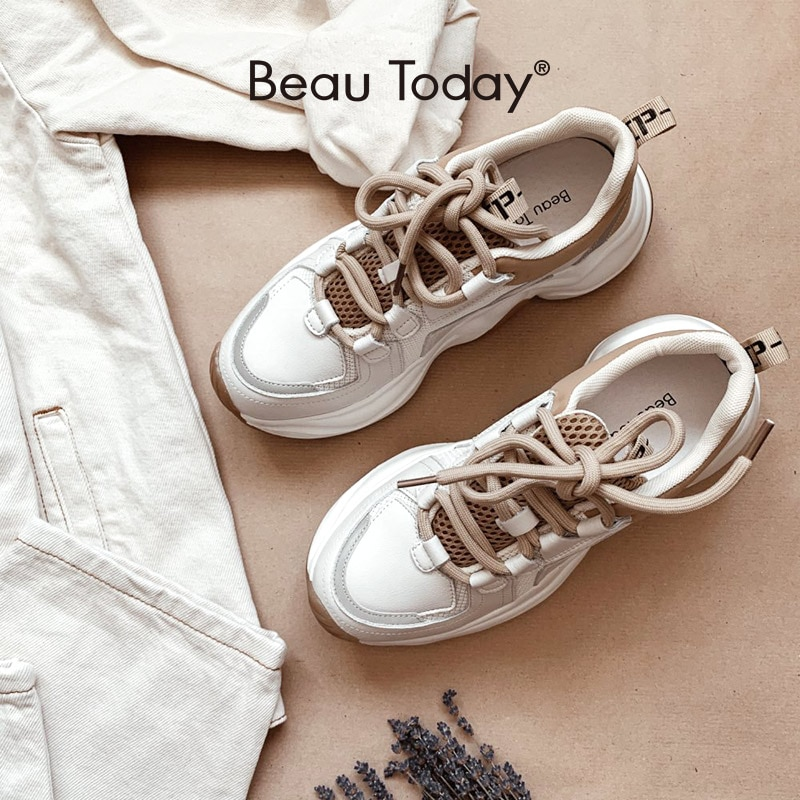 BeauToday Chunky Sneakers Women Cow Leather Mesh Retro Casual Shoes Platform Lace-Up Trainers Handmade 29333
