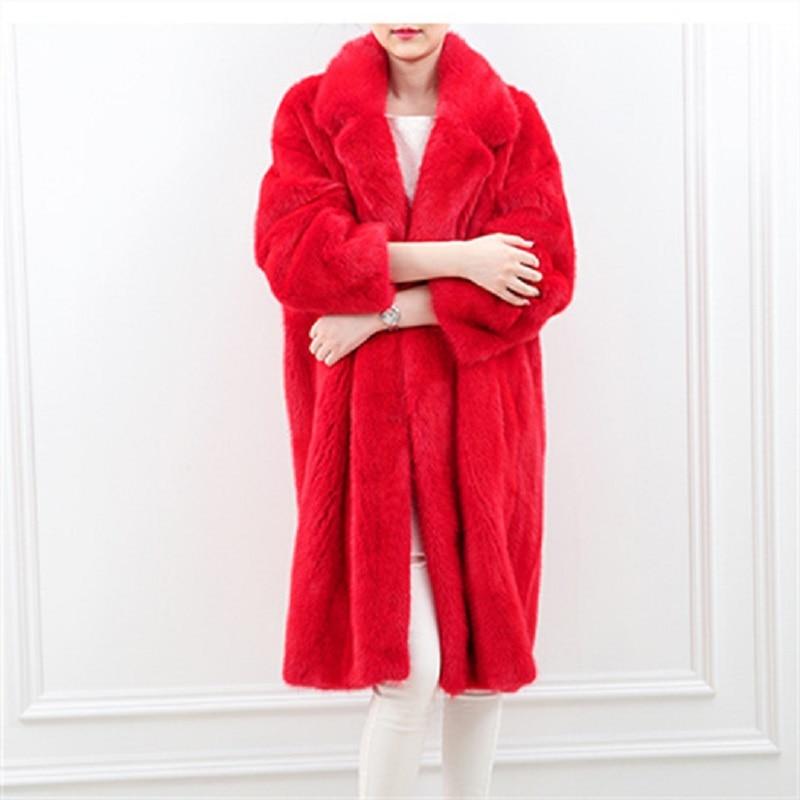 Женская Шуба из искусственного меха норки, длинная свободная шуба из искусственного меха норки, верхняя одежда в европейском и американско...