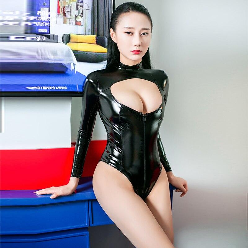 PVC Catsuit Bodystocking Sexy erótica caliente Polo baile Clubwear Babydoll Sexy hueco arriba de manga larga con cremallera mono de entrepierna abierta