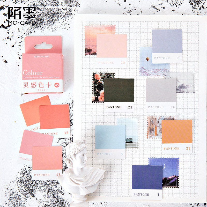 AliExpress - Journamm 45pcs/box Color Card Stickers Inspiration Color Card Series Kawaii Cute Sticker Plan Custom Stickers Diary Stationery