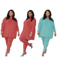 women casual two piece set plus size solid o neck pullover woman clothing loose long suit drop shipping