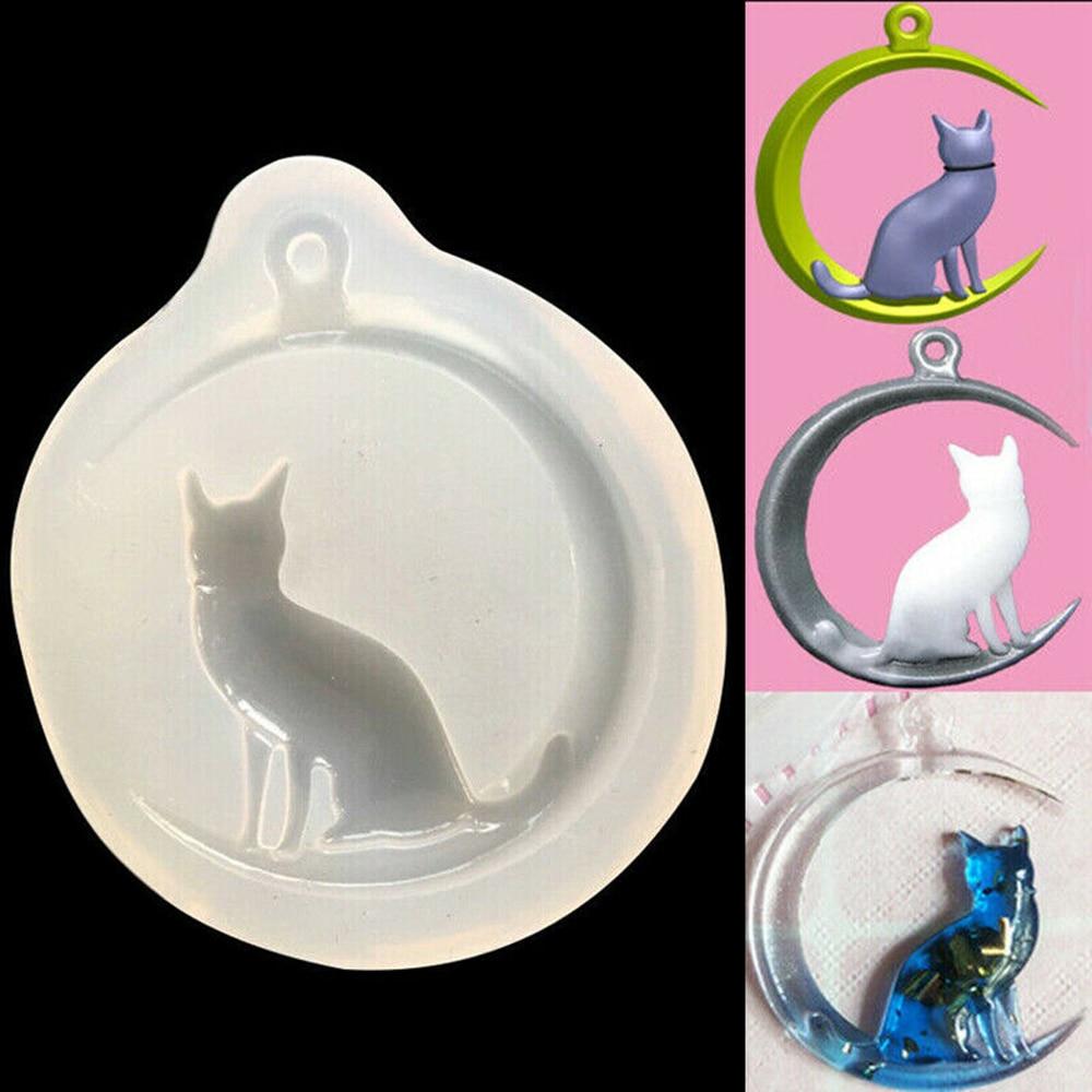 Argile faite à la main cristal goutte caoutchouc lune et chat pendentif moule bricolage goutte colle Silicone bijoux moule décoration ornement