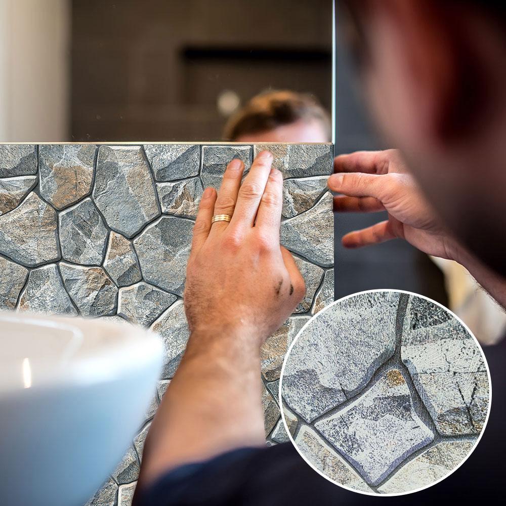 Настенный 3d-стикер с рисунком из камня, для гостиной, спальни, украшения дома, плотные склеенные наклейки на стену, ПВХ