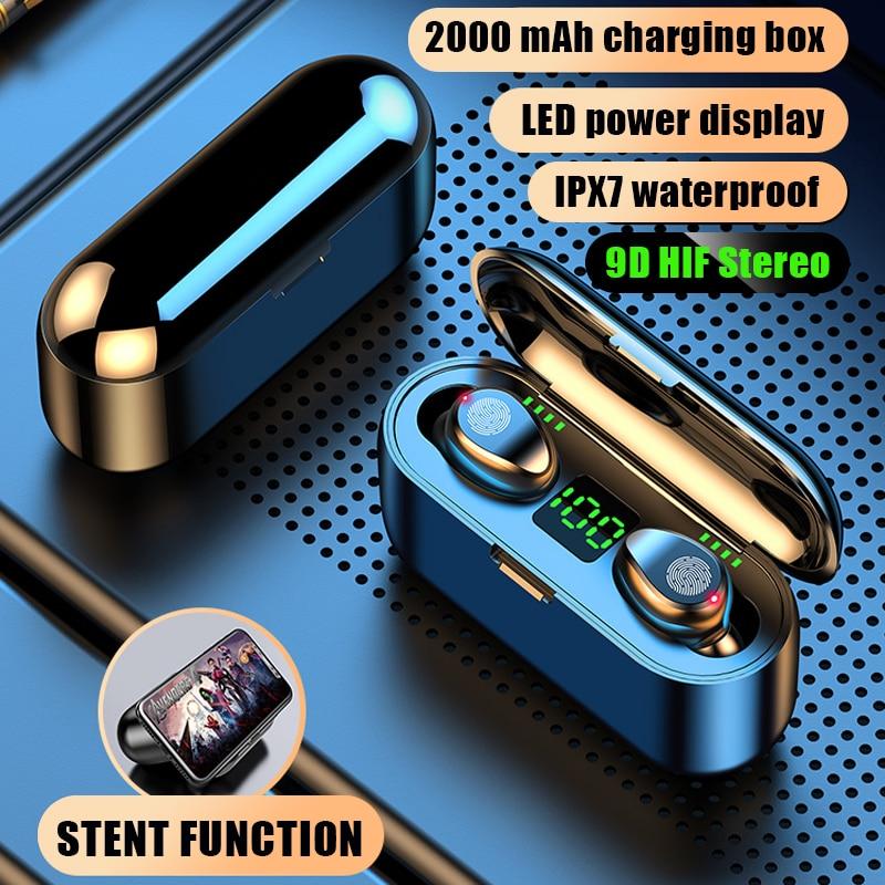 Wireless Earphone Bluetooth V5.0 F9 TWS Wireless Bluetooth Headphone LED Display With 2000mAh Power Bank Headset With Mic