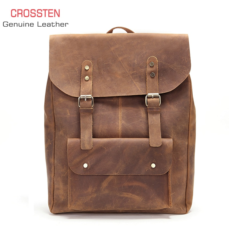 Crossten 100% Cow Leather Mens crazy-horse laptop backpack Tote bag travel Genuine Schoolbag