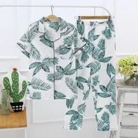 japanese style simple short women female 100 cotton gauze short sleeve trousers ladies pajamas suit cute pajamas sets home