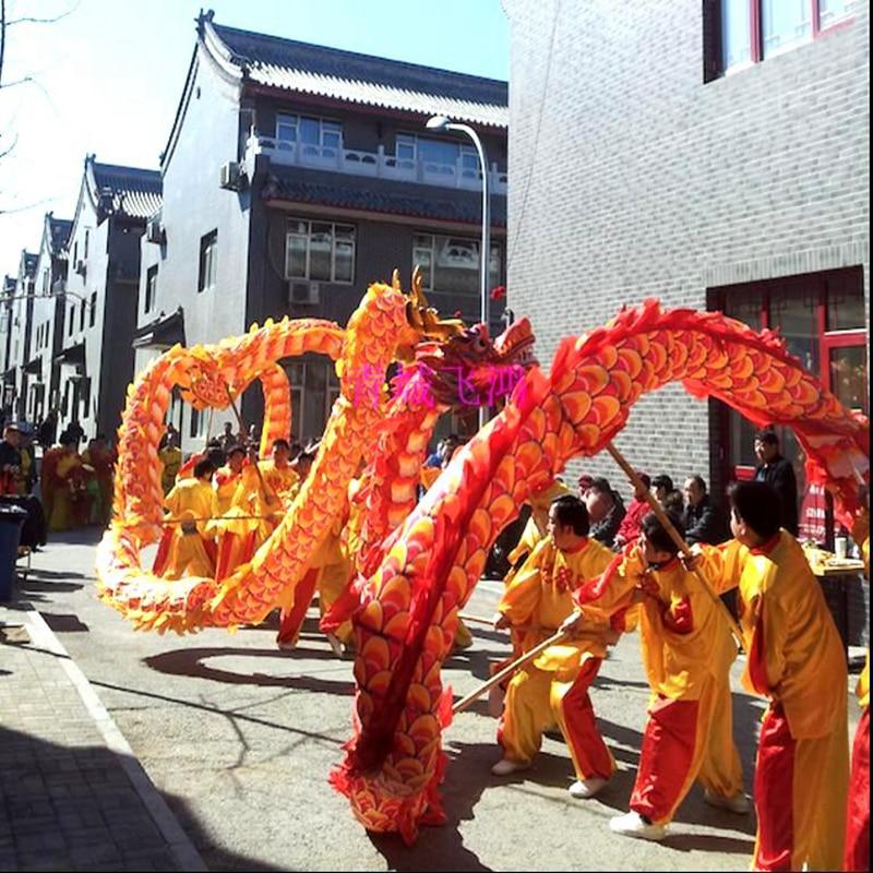 13m Length Dragon Dance Costume Silk 10 Players Children Student School  Art Halloween Party Performance Parade Folk Stage