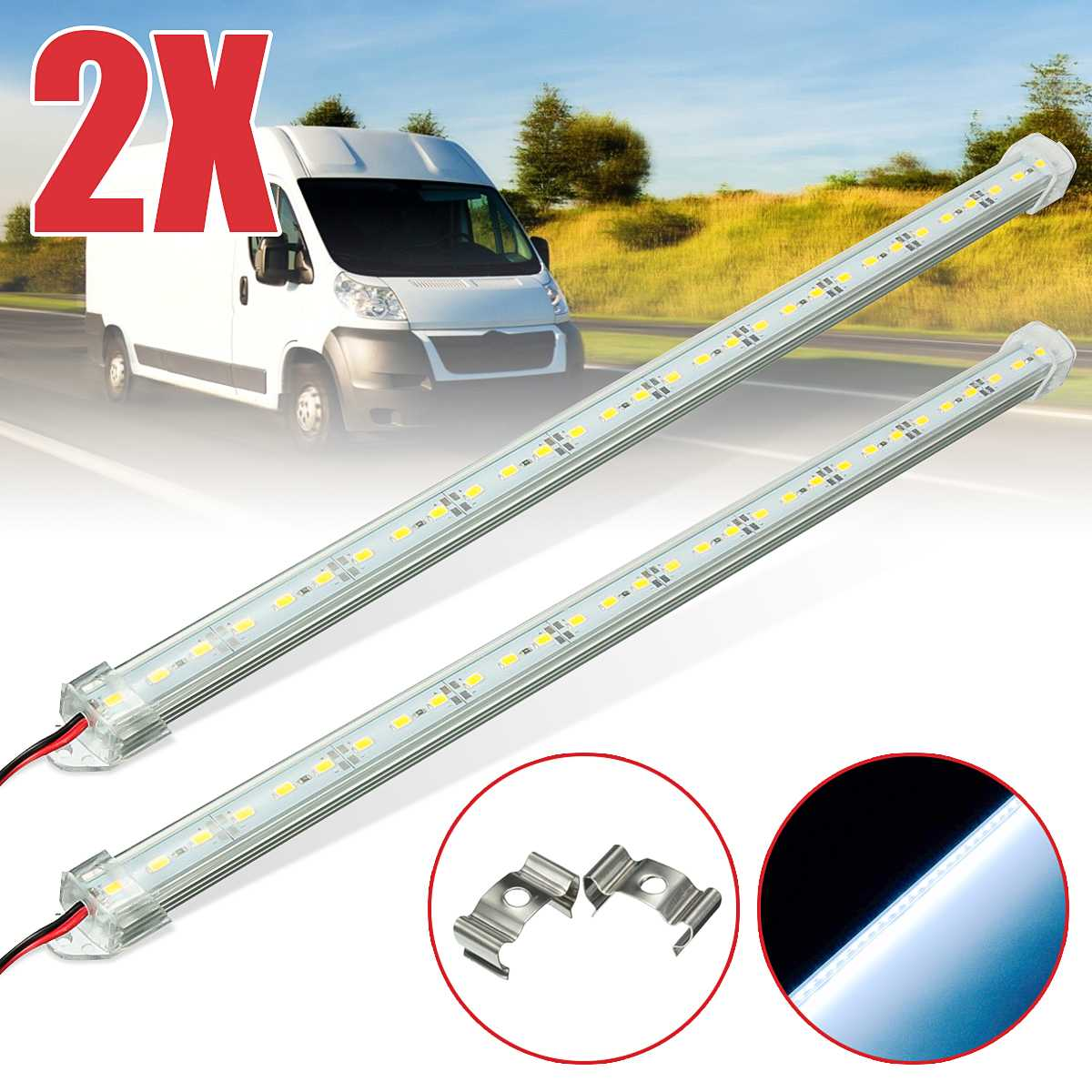 1/2/4pcs 12V 40cm 30 LED 5630 LED Interior Strip Bar Light Car Van Caravan Boat Truck Trailer lamp For Outdoor Camping Home