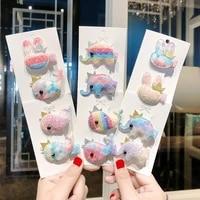 2pcsset new girls cute cartoon rabbit elephant whale hairpins children sweet headband hair clip barrettes kids hair accessories