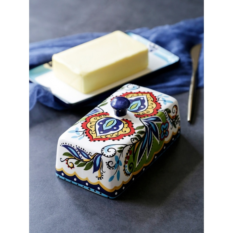 Cerámica original caja de mantequilla vajilla Europea llevar cubierta sebo de carne plato de corazón mantequilla plato queso caja aceptar