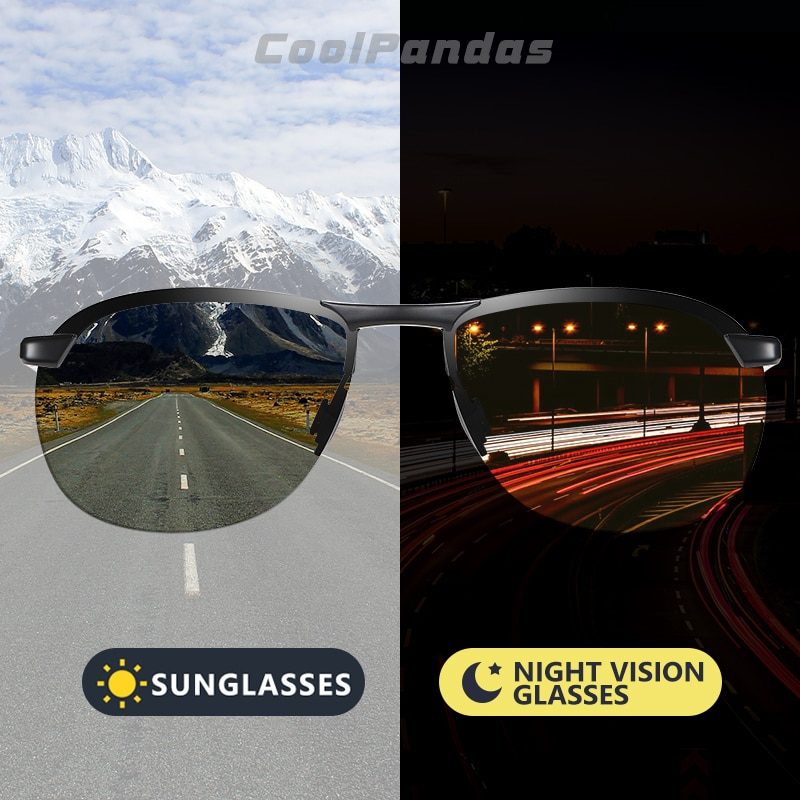 2020 marke Photochrome Männer Sonnenbrille Polarisierte Gläser Tag Nacht Vision Fahren Sonnenbrille Für Männliche Oculos De Sol Masculino