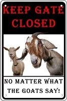 metal wall sign keep gate closed no matter what the goats say tin sign plaque farm ranch wall decoration vintage metal plate
