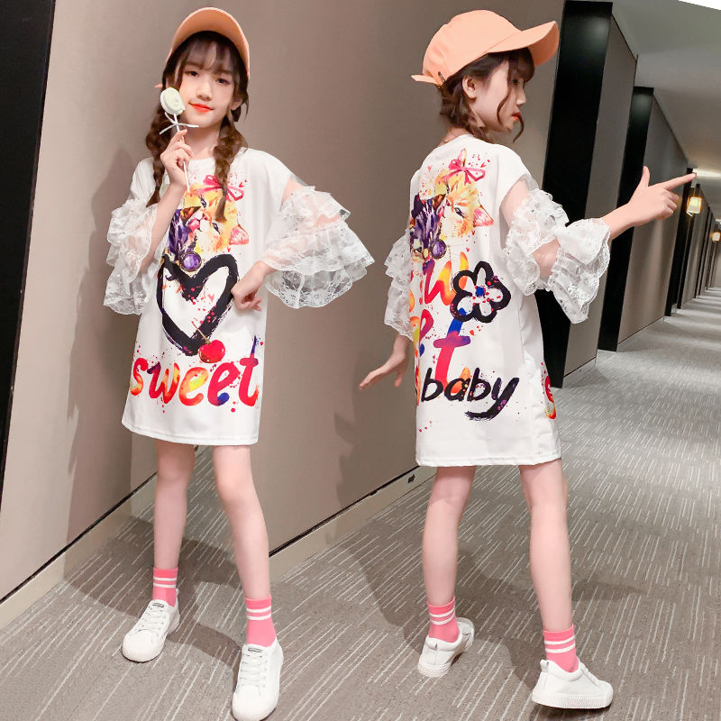 2020 vestido de verano para niñas, vestido de moda para niños, ropa de calle, vestidos para niños, patchwork de gato, manga puff de malla, 4 10 a 13 14 años