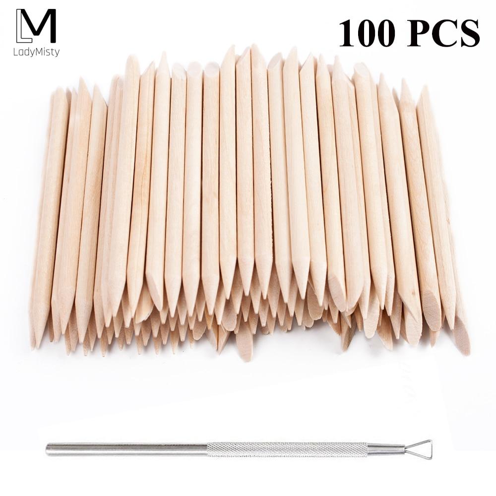 New 100pcs/set 50pcs/set Orange Women Lady Double End Nail Art Wood Stick Cuticle Pusher Remover Pedicure Manicure Tool Set