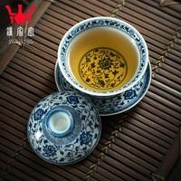 home kiln tureen teacups hand painted bound lotus flower blue three to maintain tureen large manual jingdezhen tea bowl