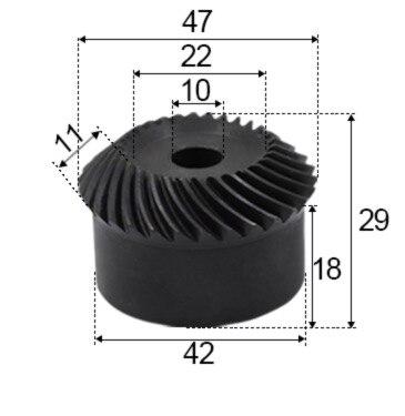 1.5 متر-30T/30T الدقة ترس مخروطي حلزوني حلزوني والعتاد-القطر: 42 مللي متر ثقب d:10 مللي متر