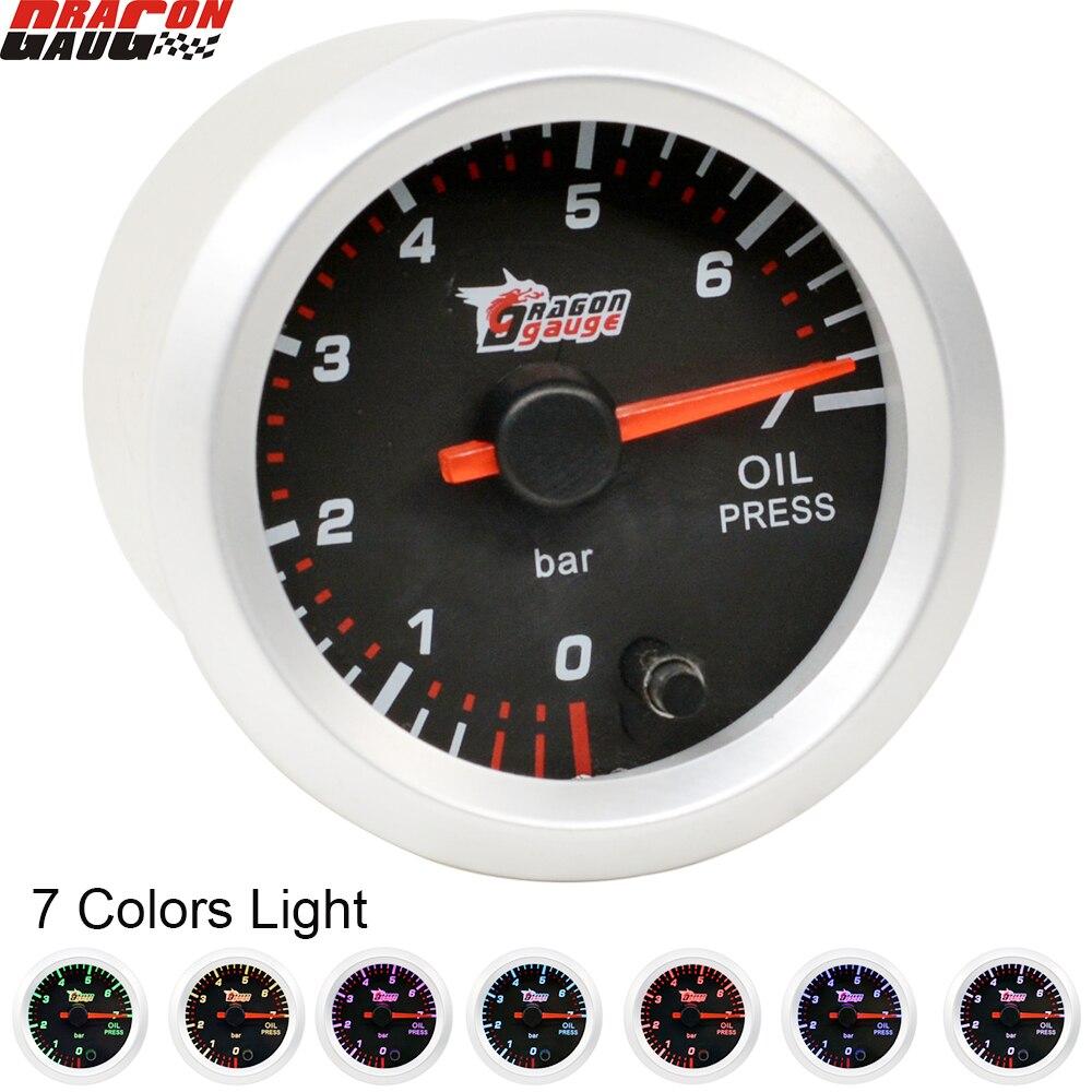 Drachen 52MM 7 Farben Hintergrundbeleuchtung Auto Auto Stepper Motor Öl Manometer Für 0-100 PSI Meter Freies verschiffen