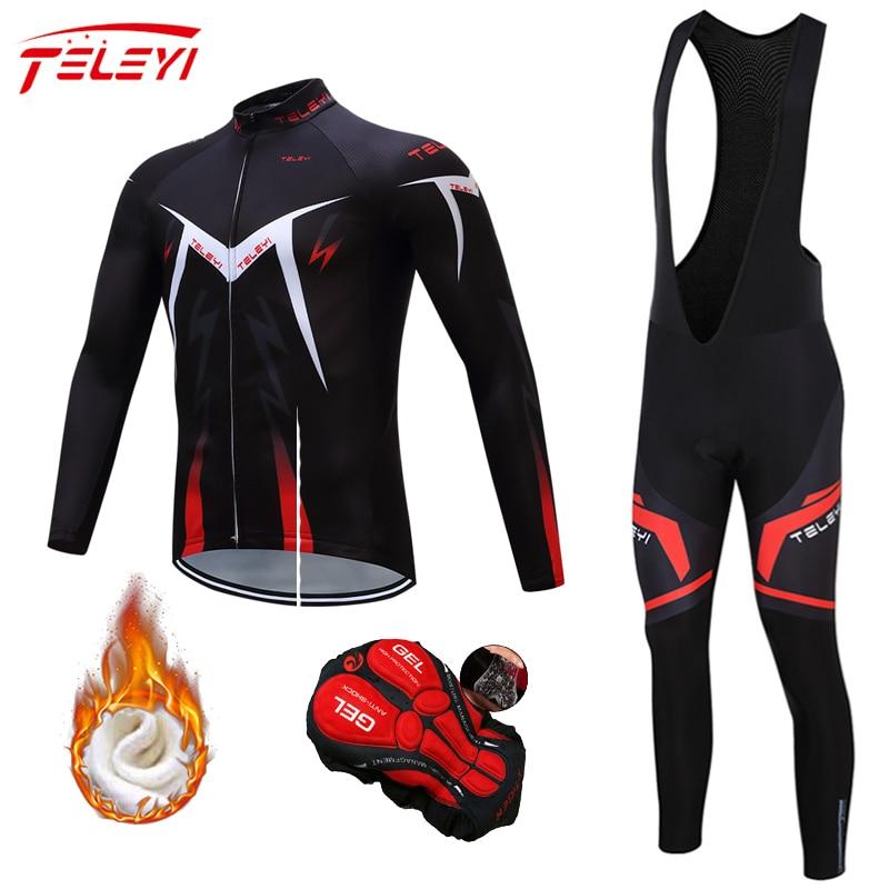Velo de Inverno Teleyi Conjunto Camisa Ciclismo Mountian Bicicleta Roupas Wear Ropa Corrida Pro