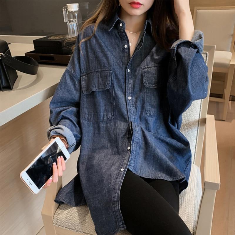 Denim Shirt Women's Spring Korean Retro Simple Temperament Mid-Length Long Sleeve Shirt Lazy and Loo