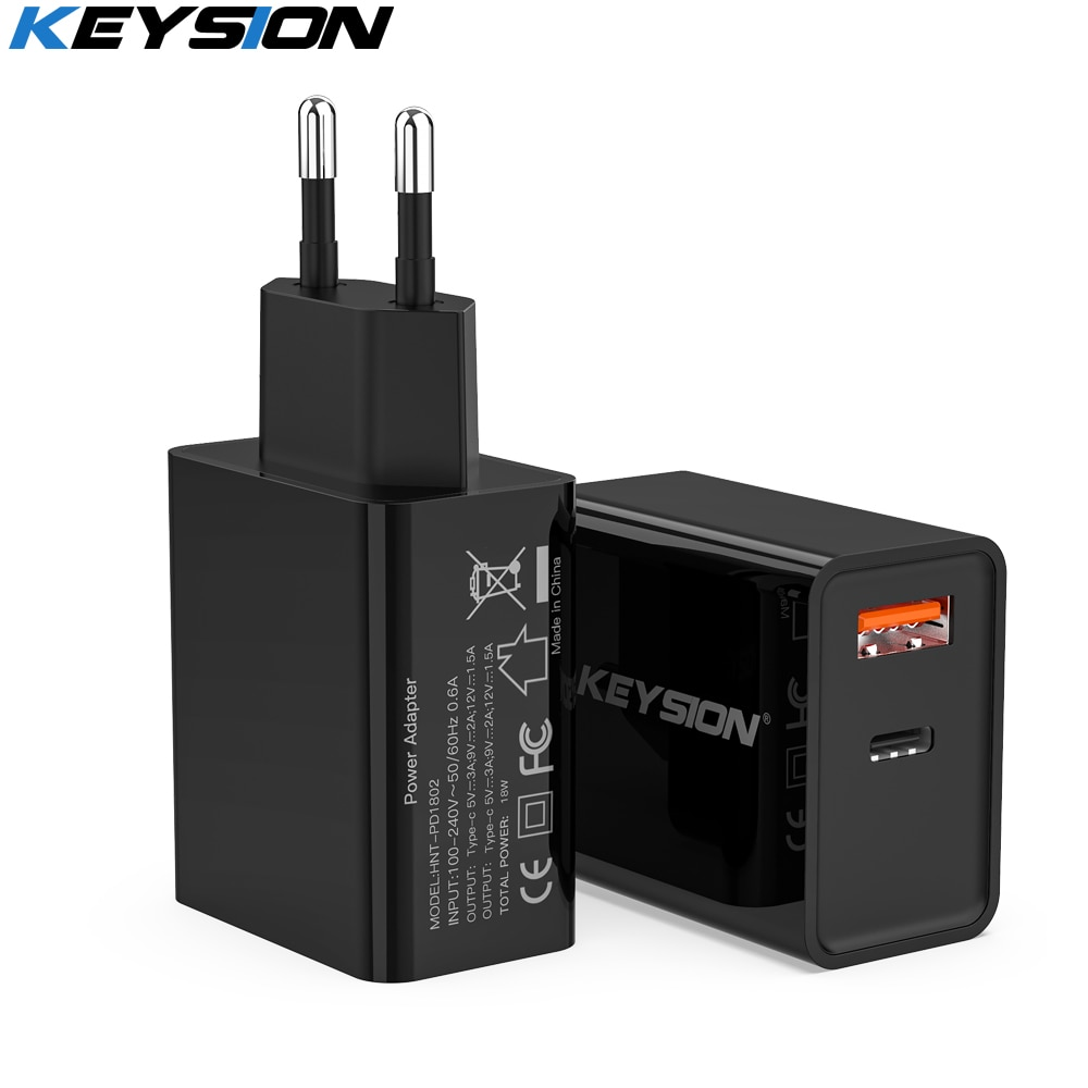 KEYSION-Cargador PD de 18W, Cargador USB Dual de carga rápida 3,0 para...