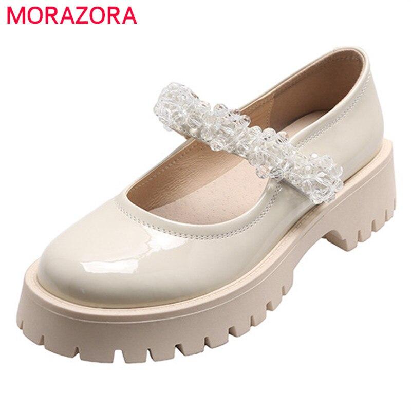 Femininas de Couro Sapatos de Cristal Dedo do pé Morazora Venda Quente Bombas Patente Único Primavera Verão Redondo Moda Sapatos Casuais Mulher 2021