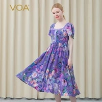 voa bohemian silk floral prom dress square collar short sleeve high waist sexy casual a line dresses for women 2021 ajx01001