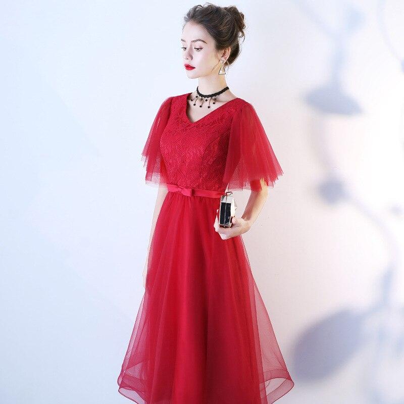 Vestido de noche para mujer, vestido de fiesta corto de tela de encaje, color sólido, rojo, blanco, negro, vestido formal de manga corta, vestido de ceremonia
