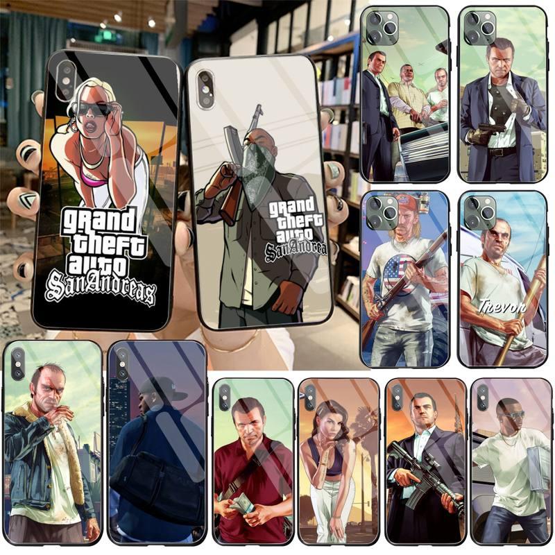 Funda de teléfono de cristal templado para iPhone 11 Pro XR XS MAX 8X7 6S 6 Plus SE 2020 DE San presente, GTA Grand Theft, Auto 5