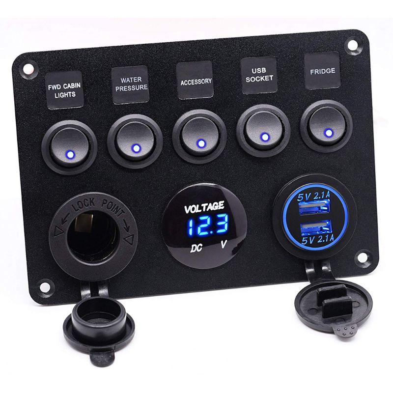 Panel de interruptor de palanca de 5 bandas 2USB 12V para coche barco marino RV camión Camper
