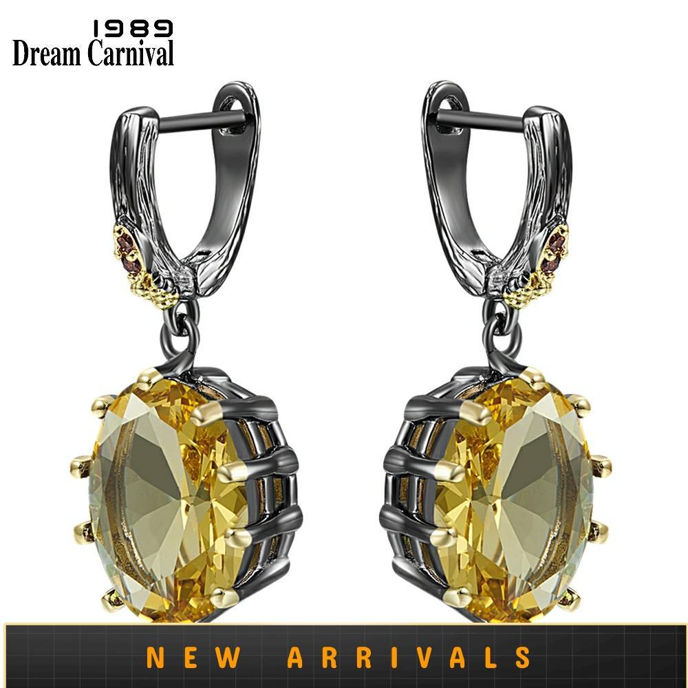 Dreamcarnival-أقراط ذهبية للنساء ، أقراط زركونيا بيضاوية ، مجوهرات حفلات الخطوبة القوطية ، قطع دقيقة ، WE4034G