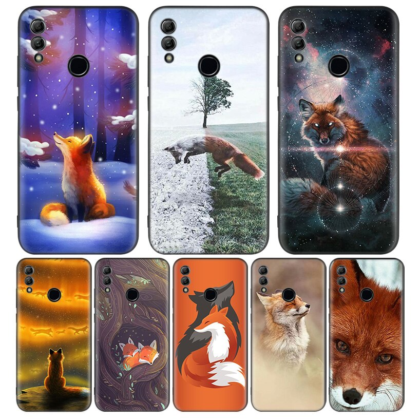 Funda de teléfono con bonito zorro de nieve negro para Huawei Y9 Y5 Y6 Y7 2019 Honor 10 9 Lite 9X 8X 8S 8A 7S 7A 10i 20i funda Coque