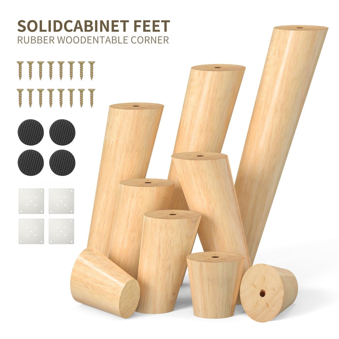 AliExpress - 1pcs Solid Wood Legs for Furniture,Inclined Cone Sofa Bed Cabinet Table and Chair Replacement Feet Sloping Feet Multi-size