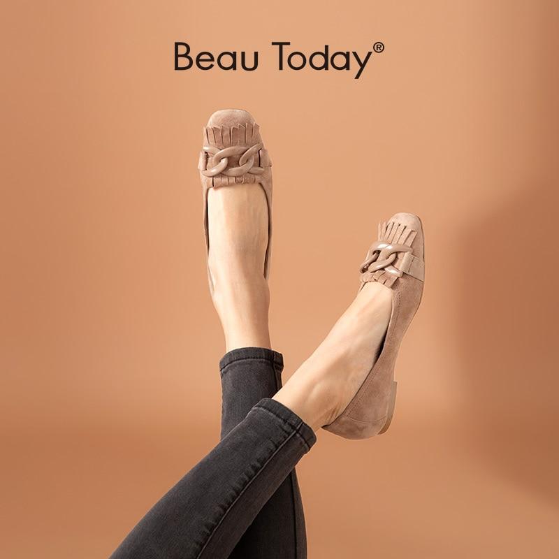 BeauToday-حذاء باليرينا نسائي من الجلد المدبوغ بمقدمة مربعة ، حذاء مسطح سهل الارتداء مزين بشراشيب ، صناعة يدوية ، 28064