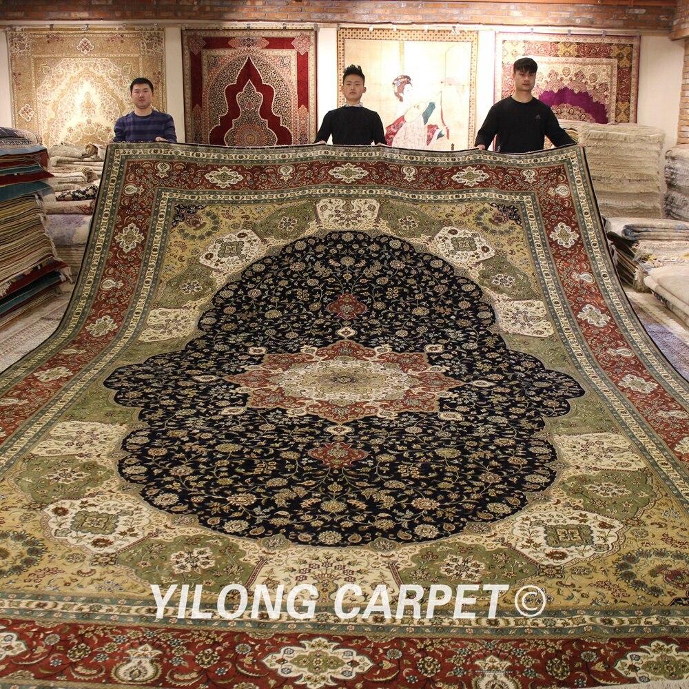 Yilong 12x18 alfombras de área persa de gran tamaño de seda Oriental hecho a mano Nain medallón alfombra de suelo (YJH235A)
