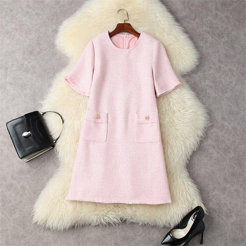 مصمم أزياء المدرج الخريف Vestidos المرأة قصيرة الأكمام س الرقبة الحلو الوردي فضفاض تويد الصوفية فستان غير رسمي رداء حفلة فام