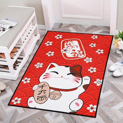 Alfombra de gato bonito de estilo japonés Fortune, alfombra suave antideslizante para el hogar, dormitorio, sala de estar, alfombra Rectangular